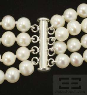 Designer White 7 8mm Freshwater Pearl 4 Strand Necklace
