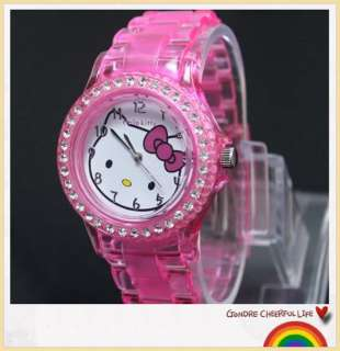 Cute HelloKitty Girl lady Children Crystal Stone Quartz Sports Wrist