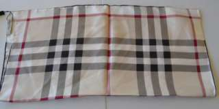 BURBERRY SQUARE TRENCH NOVA CHECK 100% SILK TWILL NECK SCARF~ITALY