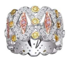 Sterling Silver 3 Tone Gold, Copper, & Clear CZ Ring.Size 9 FREE GIFT