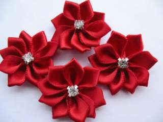 20 Satin Ribbon Flower Rhinestone Appliques/Trims Red