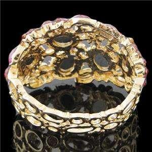 Floral Bracelet Bangle Cuff Fuchsia Swarovski Crystal Oval Drop