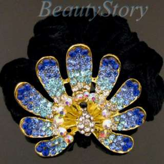 Item  rhinestone crystal peacock hair scrunchie ponytail