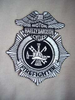 Patch.Firefighter Harley Davidson Motor Cycles (silver)