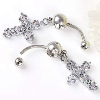 14G Clear Crystal Cross Dangle Ball Belly Navel Ring 1P