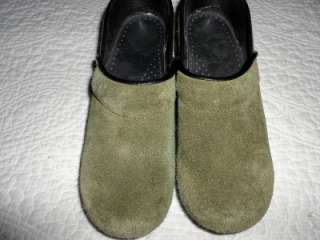 DANSKO Dark Olive Green Suede Professional Clogs Shoes 5 / 35