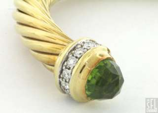 DAVID YURMAN 14K GOLD 2.60CTW VS1/F DIAMOND/PERIDOT CABLE CUFF