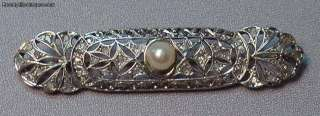 Antique Art Deco 18k White Gold Pearl Diamonds Brooch