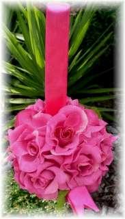 PINK MAUVE Rose Ball Pew Bow Silk Wedding Flowers Decor