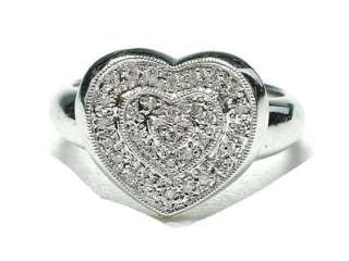 Estate 14k White Gold & Diamond ladies Heart ring