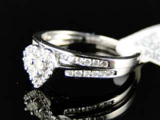 WHITE GOLD DIAMOND BRIDAL ENGAGEMENT WEDDING HEART RING SET