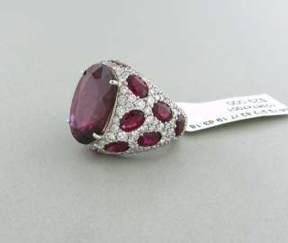 ASPREY JUBILEE 18K WHITE GOLD RUBELLITE DIAMOND RING $29000