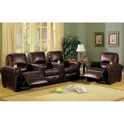Top Grain Leather Home Theatre Sectional Recliner
