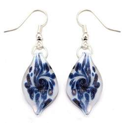 Murano style Glass Denim Blue and White Leaf Earrings