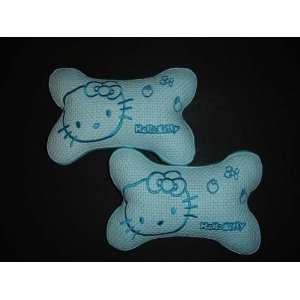 2pcs hello kitty car seat neck rest pillow cushion   blue