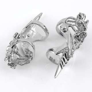 1PC Fashion Crystal Spike Dragon Punk Double Finger Ring Mens Cool