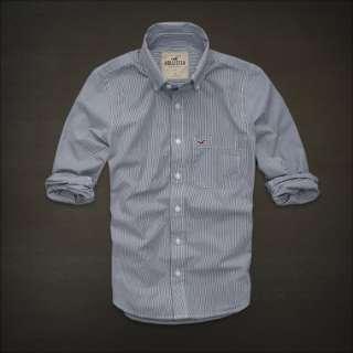 NWT Hollister Mens Striped Classic Shirt M L Button Down Top Navy