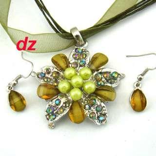 h610 Vogue Stylish Voile Flower Gemstone Necklace Pendant Earrings Set