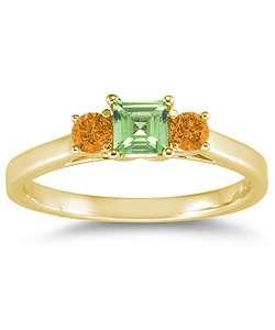 14k Yellow Gold 3 stone Peridot and Citrine Ring