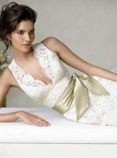 White/Ivory Lace V Neck Backless Wedding Dress Size 6 8 10 12 14 16 18