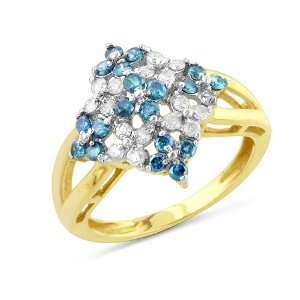Yellow Gold 1.00 Carat White and Treated Blue Diamond Ring Jewelry