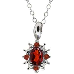 0.63 Ct Oval Red Garnet and Cognac Red Diamond Argentium