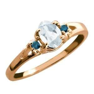 0.59 Ct Sky Blue Oval Topaz and Blue Diamond 14k Rose Gold