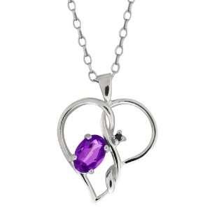 0.46 Ct Oval Purple Amethyst and Black Diamond 14k White