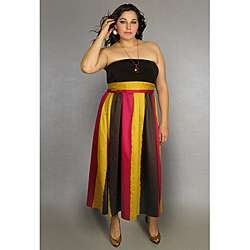 INES Collection Womens Plus Size Strapless Maxi Dress