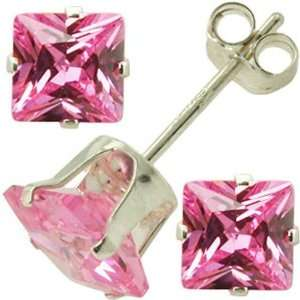 Sterling Silver 4mm Pink CZ Cubic Zirconia Square Stud