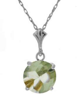 Natural Green Amethyst Round Gemstone Solitaire Pendant Necklace 14K