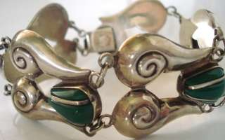 VINTAGE MEXICO MEXICAN STERLING SILVER REPOUSSE SPIRAL BRACELET