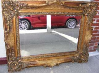 Bronze Gilt Frame Beveled Glass Mantle Wall Mirror ~CAN SHIP
