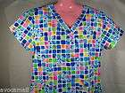 NWT Free Ship Medical Nursing Cartoon Scrubs Top Blues Clues Squares