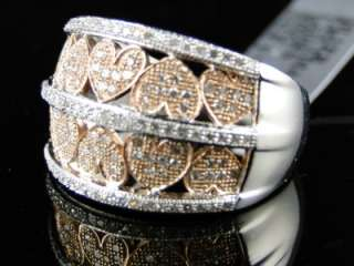 WHITE ROSE FINISH LADIES 2 TONE DIAMOND HEART BAND RING
