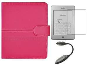 Hot Pink Leather Case Cover Folio for  Kindle Touch+Screen