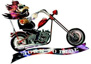 BORN TO RIDE METAL WALL ART Chopper Decor Motorcycle Rider Decorations