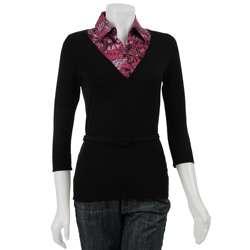 August Silk Womens Purple Shirt/Sweater Combo