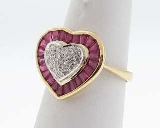 Estate Heart Natural Ruby Diamonds Solid 18k Gold Ring