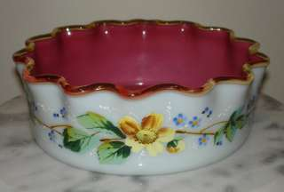 Antique Glass Mt Washington Art Glass 8 Bowl Fabulous Color and