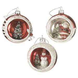 3 Piece Diorama Christmas Ornament Set Santa, Tree and