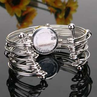 Fashion Lady Charm Bangle Stainless Steel Beads Bracelet Quartz Wrist