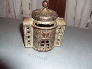 Vintage Cast Iron Bank 3 1/4 Dome Building