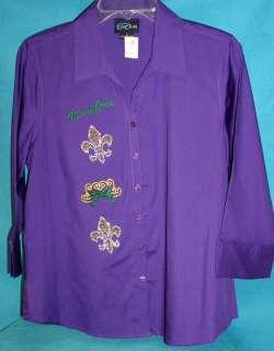 Mardi Gras Purple Shirt Button 3/4 Sleeve W/Rhinestones