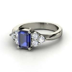 Apex Ring, Emerald Cut Sapphire 14K White Gold Ring with