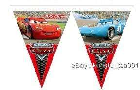 Disney Cars Lighting McQueen Birthday Party Xmas Bunting Flag Banner