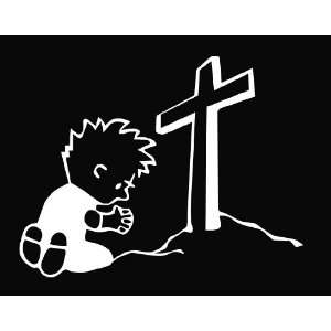 Calvin Praying at the Cross Religious Vinyl Die Cut Decal