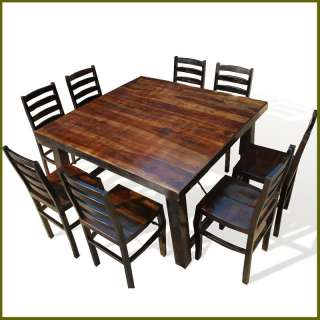 Large Family 9pc Solid Wood Dining Room able & Chair Se NEW |