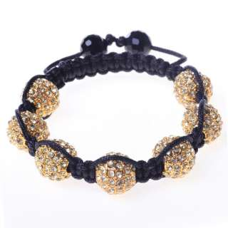 Crystals Yellow Gold Tone Macrame Beaded Disco Ball Unisex Bracelet