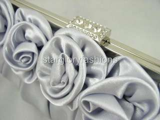Silver Satin Roses Pleated Wedding Clutch Rhinestones